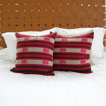 Naga Tribal Pillow - Maroon & Red - 22x22