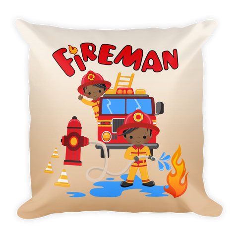 African American Firefighter Square Pillow