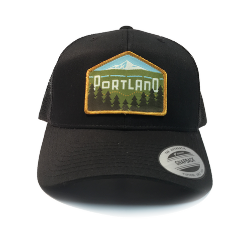 Portland Skyline East - Retro Trucker Snapback Hat