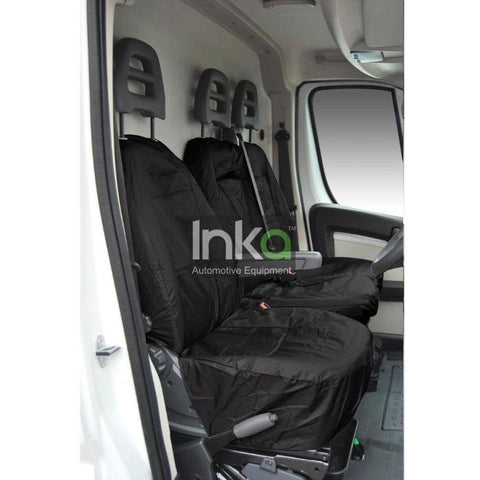 Peugeot Boxer Fully Tailored Inka Waterproof Front Single & Double Seat Covers 2006 - 2016 Heavy Duty Right Hand Drive Black - INK-WSC-5600