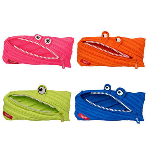 Monster Pencil Case 4-Pack (Pink, Orange, Lime, Blue)