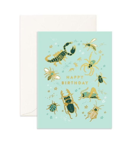 Fox & Fallow Bugs Birthday Card