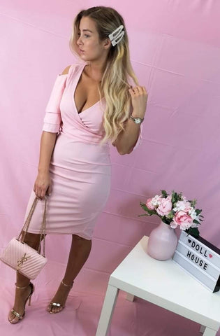 Multi Frill Sleeve Wrap Front Bodycon Dress