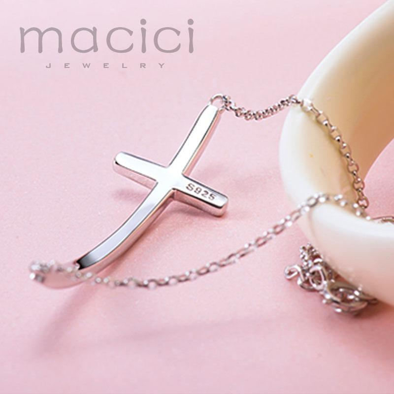 """Cross"" 925 Sterling Silver Sideways Cross Charm Women's Bracelet"
