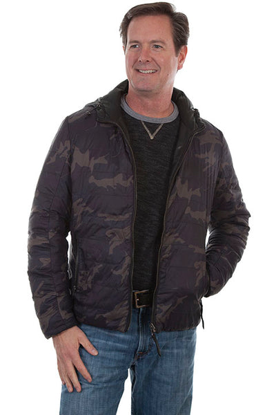 Men's Scully Leather Jacket with Hood Reverses to Camouflage Front