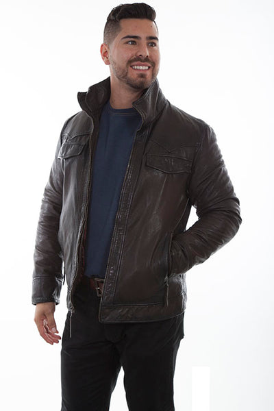 Men's Scully Leather Jacket Zip Closure Double Collar Chocolate Front