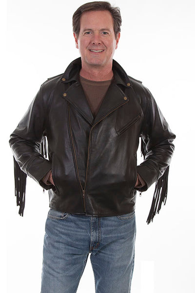 Scully Men's Motorcycle Jacket with Fringe Black Lamb Front
