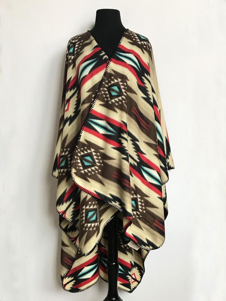 Rockmount Ranch Wear Western Poncho Brown Red