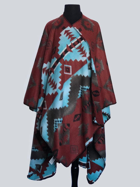 Rockmount Ranch Wear Western Poncho Brick Turquoise