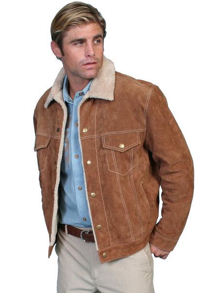 Scully Men's Leather Jacket Denim Style with Shearling Cafe Brown Front
