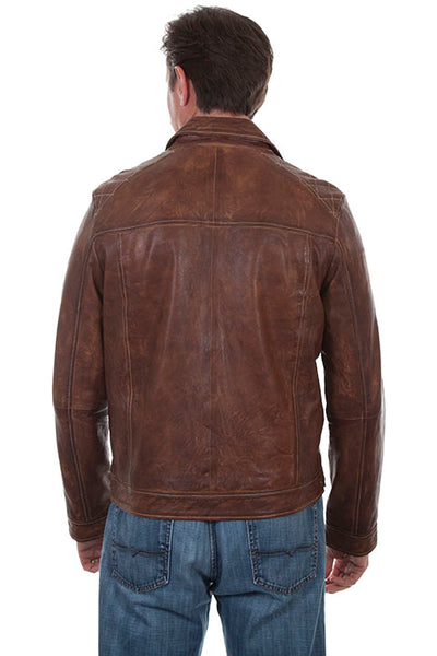 Scully Men's Leather Jacket Casual Zip Front with Woven Details Front