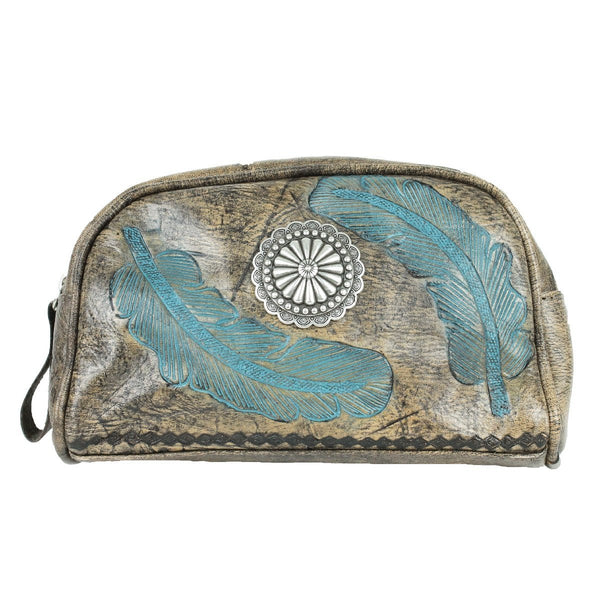 American West Sacred Bird Collection Cosmetic Case Turquoise