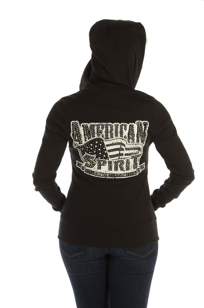 Liberty Wear Women's Hoodie American Spirit Flag with Bling Back