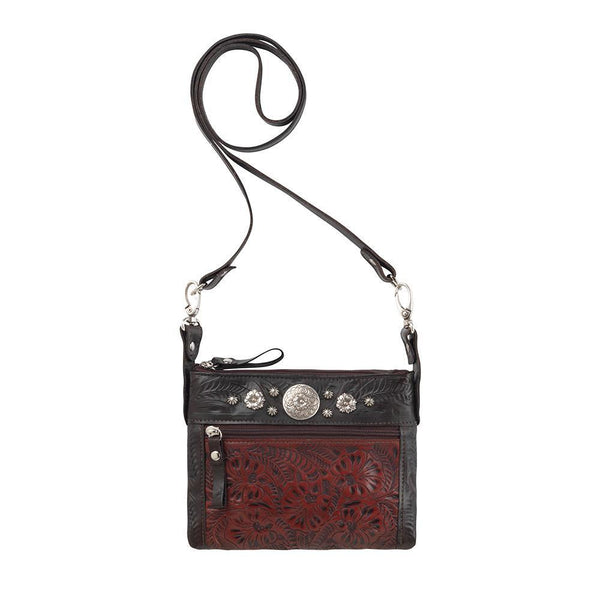 American West Trail Rider Crossbody Tooled Crimson Front