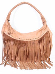 Scully Leather Co. leather Shoulder Bag with Long Fringe and Rivets on Model