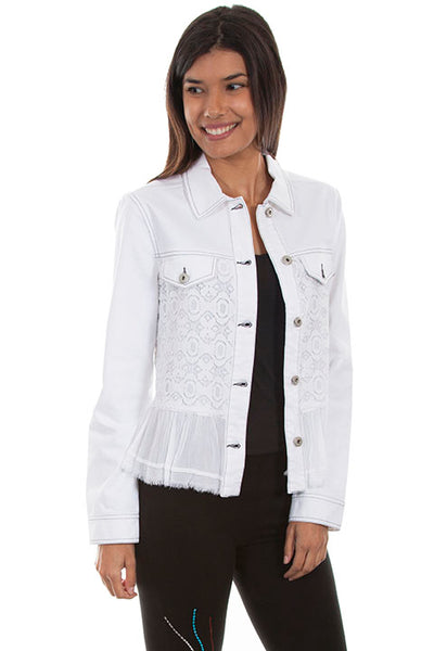 Scully Honey Creek Ladies' Denim Jean Jacket with Lace Insert White Front