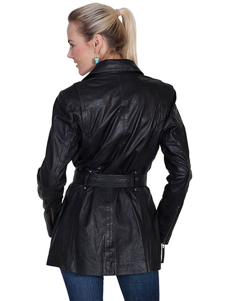 Scully Womens Lamb Car Coat with Zippers, Belt, Black, Front View