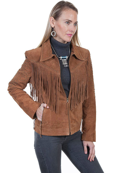 Scully Ladies' Suede Leather Jacket with Fringe Zip Front