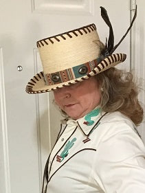 Patricia Wolf Turquoise Serape Western Tophat with Feathers Side