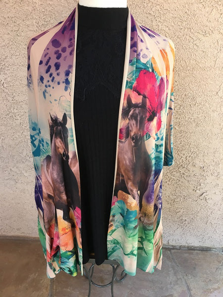 Ladies' Fantazia Apparel 3/4 Sleeve Jacket Wrap Sea Flowers Front