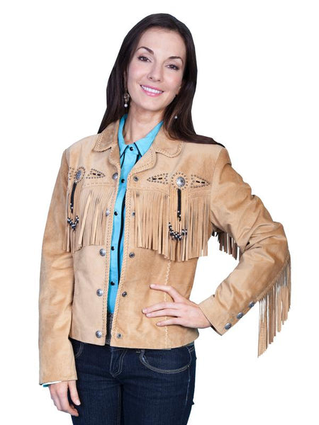 Scully Women's Suede Jacket with Fringe, Conchos, Beads Black Front