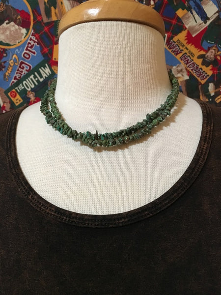 Two Grey Hills Native American Handcrafted Green Turquoise Necklace Set