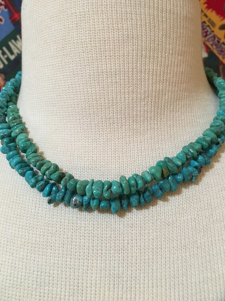 Two Grey Hills Native American Handcrafted Turquoise Set of Two Strands