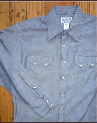 Rockmount Ranch Wear Mens Western Dress Shirt Herringbone Blue Front