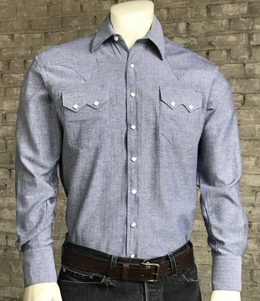 Rockmount Ranch Wear Mens Western Dress Shirt Herringbone Blue Front Tucked