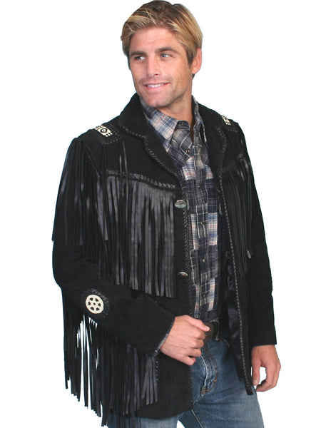Men's Leather Jacket Collection: Scully Western Fringe Sportscoat with Beads, Black