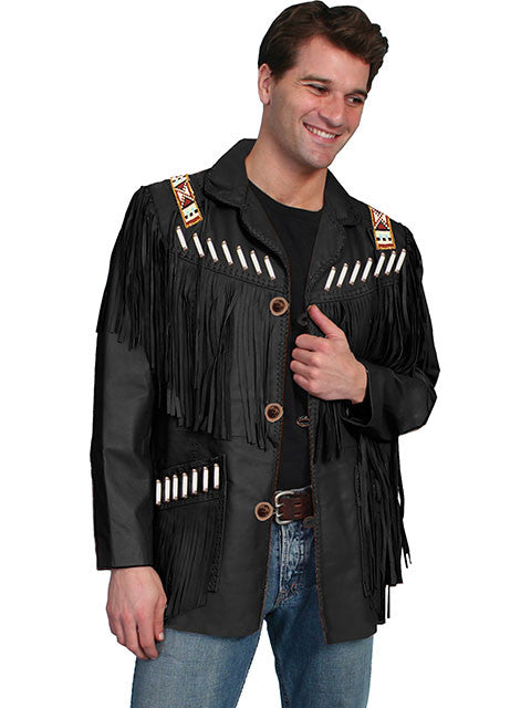 Scully Mens Fringe, Beads, Epualets Jacket, Black Front View