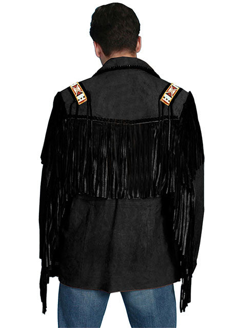 Scully Mens Fringe, Beads, Epualets Jacket, Black Back View