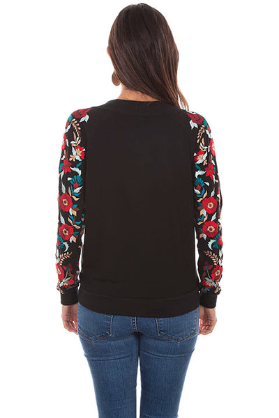 Scully Ladies' Honey Creek Bomber Jacket with Floral Embroidery Front