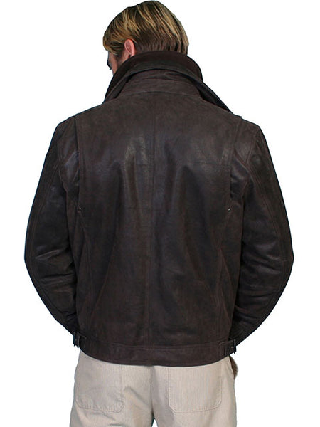 Scully Men's Leather Jacket Zip Front Double Collar Brown Front