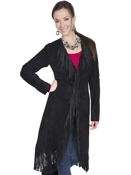 Scully Women's Western Maxi Coat with Abundant Fringe Black Front