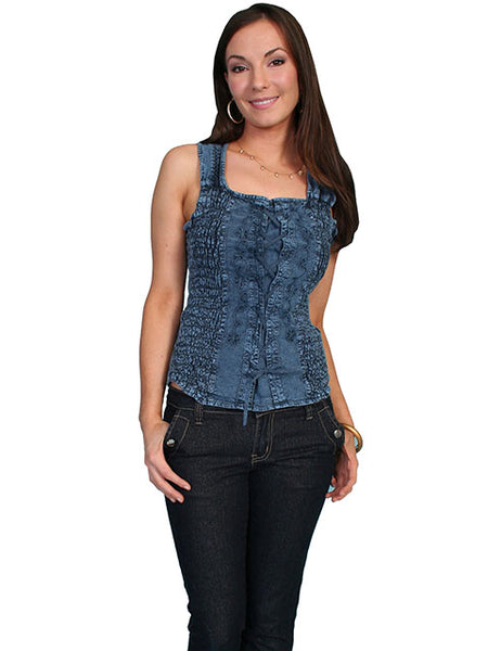 Women's Cantina Collection Blouse: Tank Top with Shirred Sides Blue