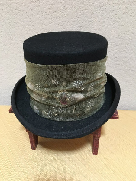 Patricia Wolf Steampunk Wool Tophat with Feathers on Model