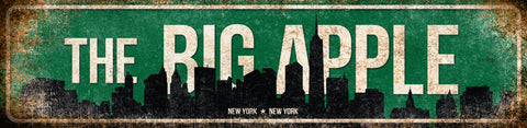 "The Big Apple // New York, New York // 1 Aluminum Sign // Indoor or Outdoor //  5.5"" x 22"""