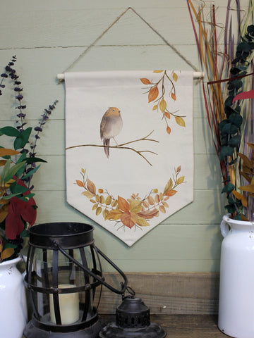"Autumn Bird // 12""x16"" // Canvas Banner Flag // Fall Season Decor"