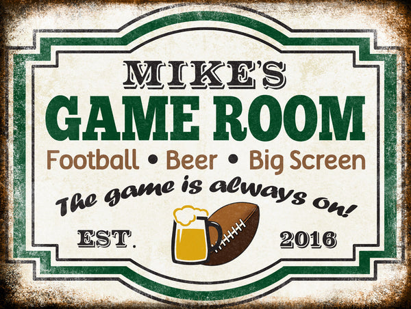 "Custom Football Game Room Sign // 1 Aluminum Sign // Indoor or Outdoor // 12"" x 16"""