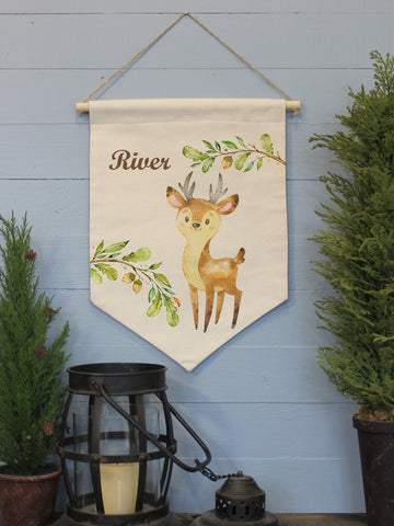 "Young Buck Custom Name // 12""x16"" // Canvas Banner Flag // Children's Decor"