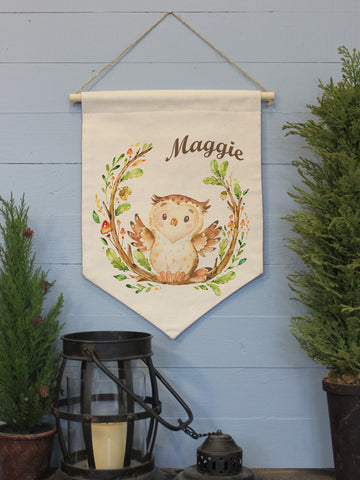 "Little Owl Custom Name // 12""x16"" // Canvas Banner Flag // Children's Decor"