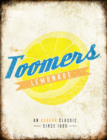 "Toomers Lemonade // Auburn, Alabama // 1 Aluminum Sign // Indoor or Outdoor // 12"" x 16"""