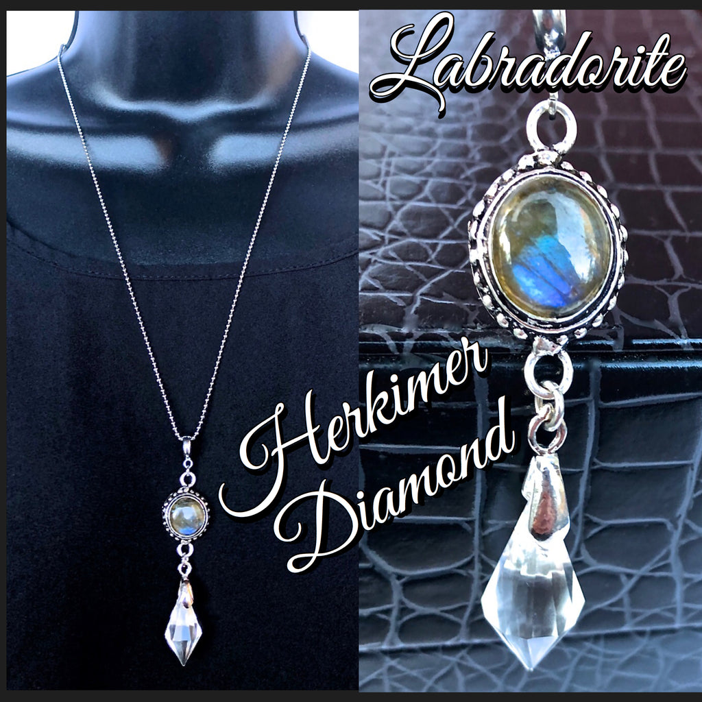 Herkimer Diamond Labradorite Energy Healing Crystal Reiki Necklace - Spiritual Diva Jewelry