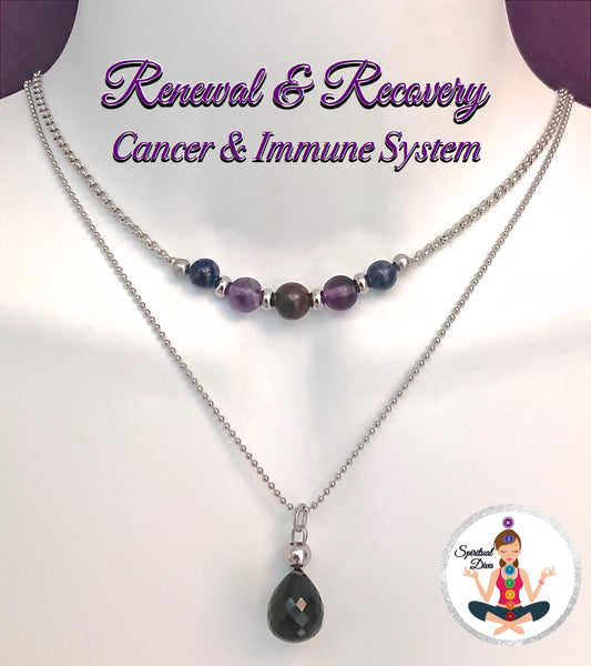 Cancer Immune System Recovery Healing Crystal Double Choker Necklace - Spiritual Diva Jewelry