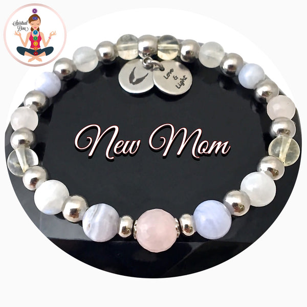 New Mother Baby Energy Healing Crystal Reiki Angel Gemstone Bracelet - Spiritual Diva Jewelry