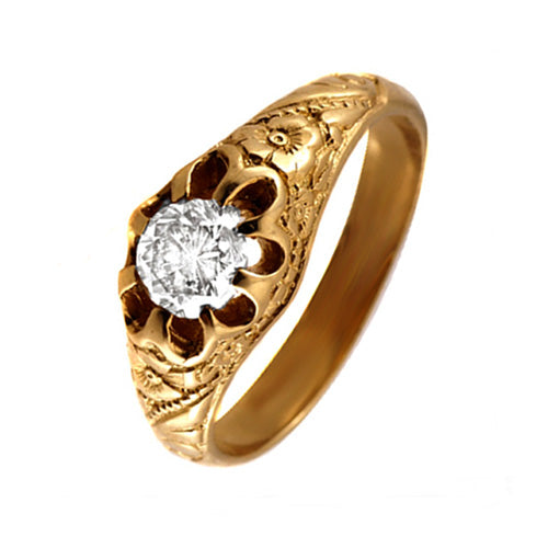Antique Diamond Engagement Gold Dome Ring - What Women Want Jewellers