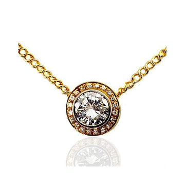 Circle diamond gold pendant - What Women Want Jewellers