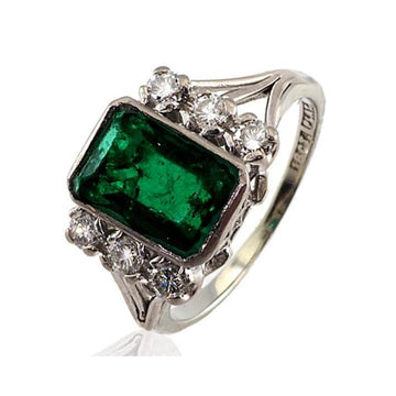 Square emerald diamond white gold engagement ring - What Women Want Jewellers