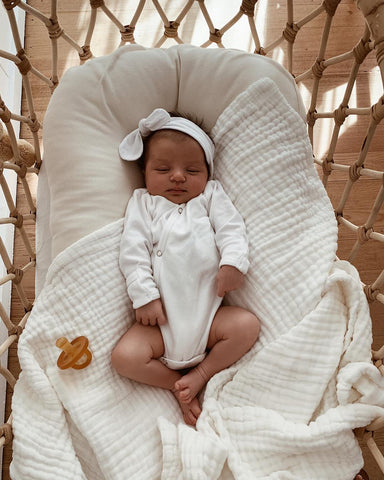 Organic Cotton Quilted Muslin Blanket - White (PRE ORDER LATE JULY)